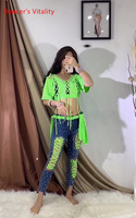 Women Belly Dance Group Competition Suit Glitter Diamond Top Pants Belt Set Drum Oriental Indian Dancing Wear Stage Outfits