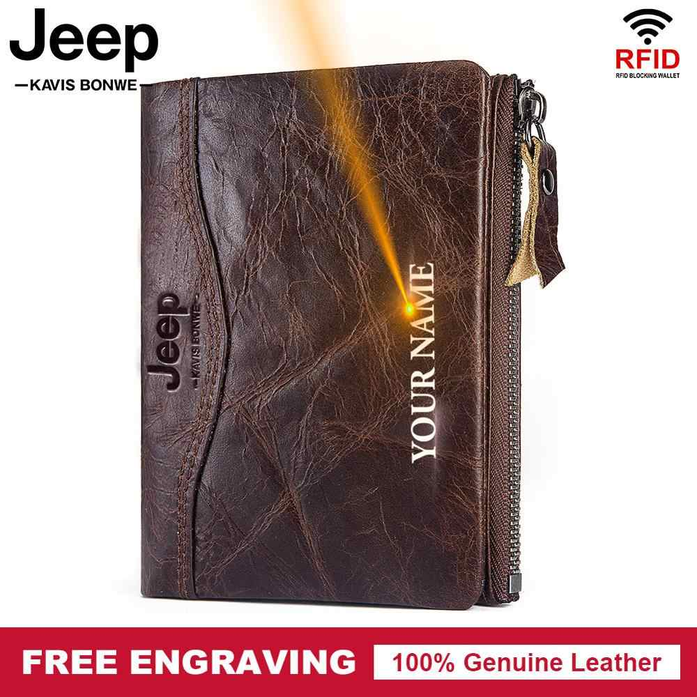 Free Engraving 100% Genuine Leather Wallet Men Coin Purse Male Vintage Small Card Holder for Clamp for Money bag Zipper Soft
