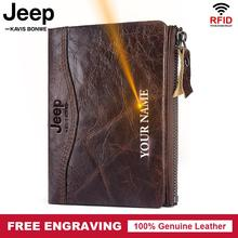 Free Engraving 100% Genuine Leather Wallet Men Coin Purse Ma