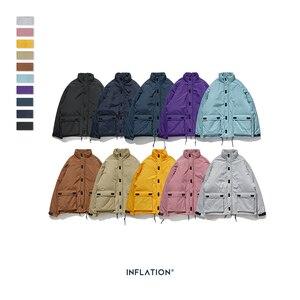 Image 1 - INFLATION 2020 Männer Winter Parka Jacke Einfarbig Herren Warme Parka Jacke Streetwear 10 Verschiedene Farbe Männer Parka Jacke 8761W