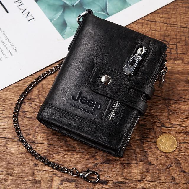 100% Cowhide Genuine Leather Men Wallet Coin Purse Small Mini Card Holder Chain PORTFOLIO Portomonee Male Walet Pocket Chain 5