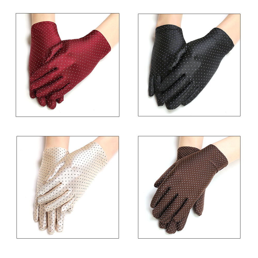 Summer Women Driving Sun Protection Reach To Wrist Gloves Round Dot Elastic Comfortable Fashion Wild Gloves