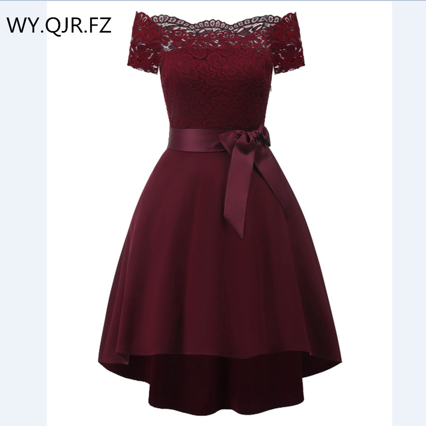 CD1613D#Lace Bow Boat Neck Short Bridesmaid Dresses Christmas Trailing Wedding Party Girls Gown Prom Wholesale Dress Wine Red
