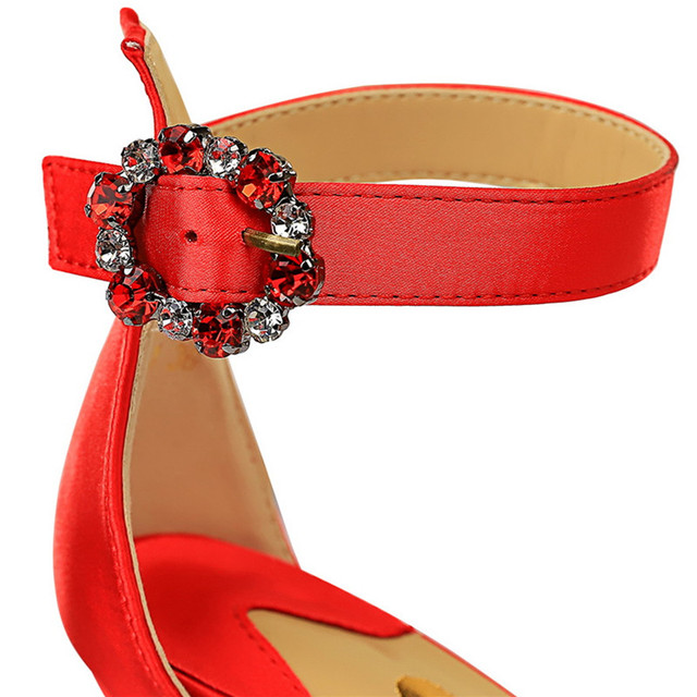 Womens Rhinestone Sandal High Heels  6