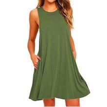 Vestido corto de verano y otoño sin mangas, color negro, verde sólido
