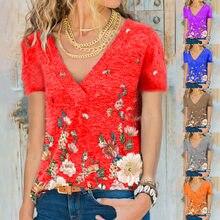 Maglietta a farfalla stampata estate delle nuove donne moda Casual scollo a V Plus Size top manica corta femminile S-3XL
