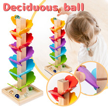 Children's Diy Wooden Toys Tree Marble Ball Run Track Building Blocks Kids Leaves Tower Rolling Ball Running Track Toys Gift D13