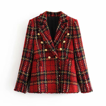 Tweed women red plaid blazers 2019 winter fashion women vintage jackets female p