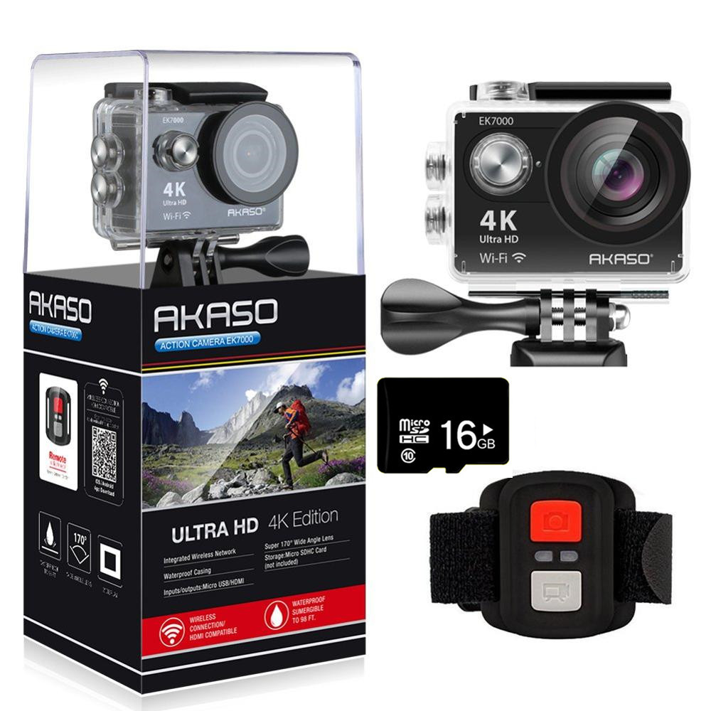 AKASO EK7000 4K WIFI Outdoor Action Camera Ultra HD Go Waterproof Cam Pro bike helmet Video Extreme Sports Moving Cameras Gift image