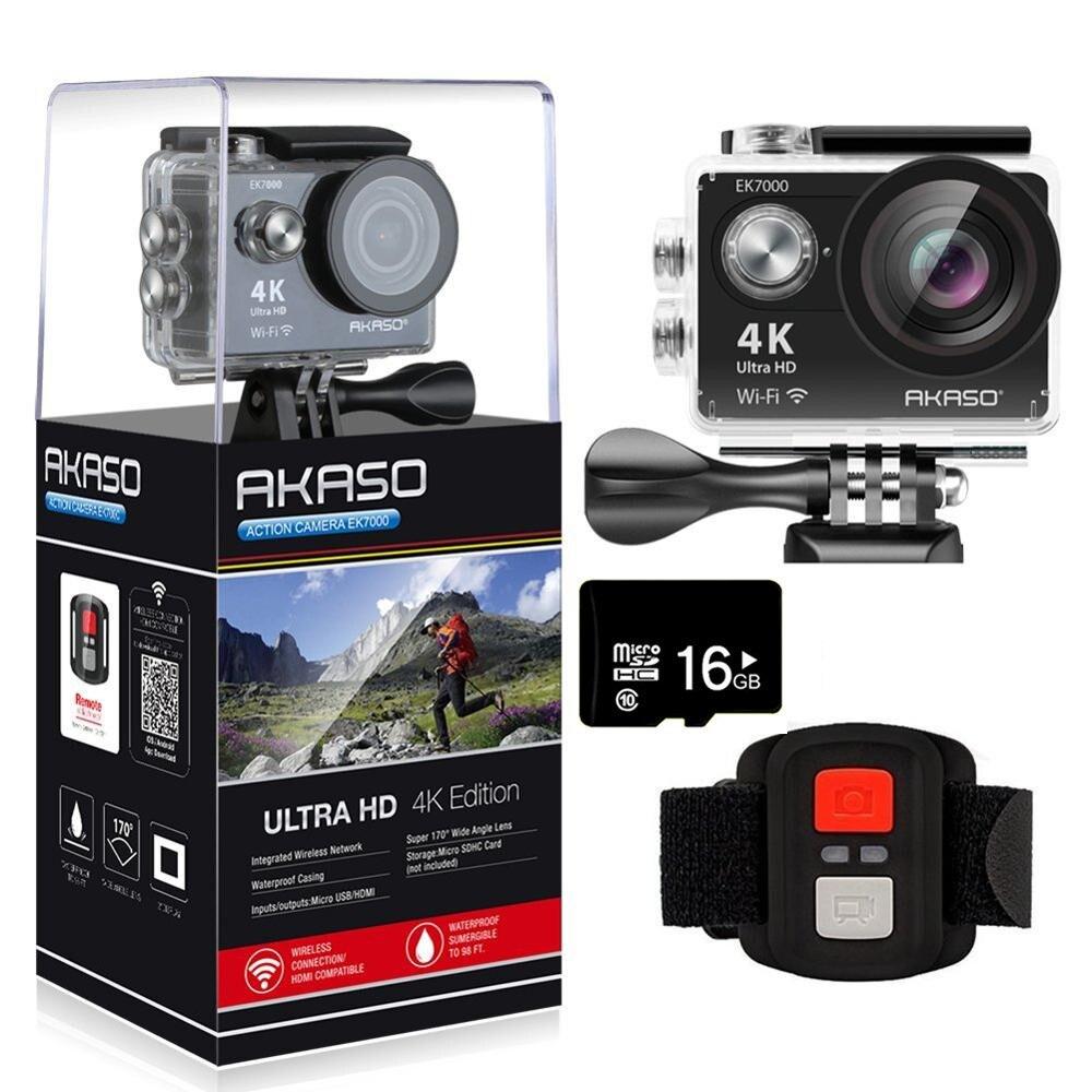 AKASO EK7000 4K WIFI Outdoor-Action-Kamera Ultra HD Gehen Wasserdichte Cam Pro bike helm Video Extreme Sport Moving kameras Geschenk