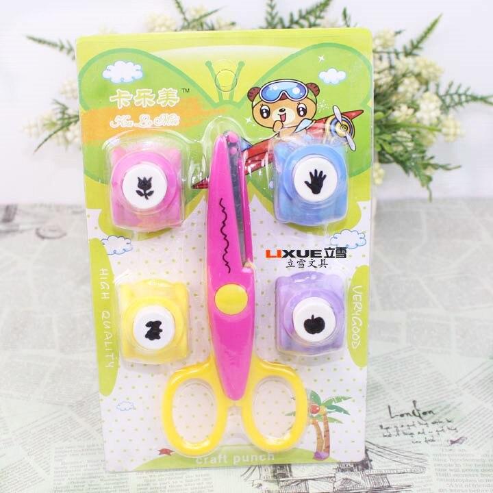 Y11 Scissors + Ya Hua Qi Craft Punch DIY Tool Kit Children Handmade Paper Cutting Tool Educational Set 801
