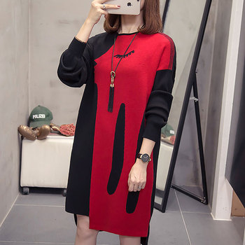Plus Size Knitted Dress women clothes 2019 winter fashion Casual Loose Long Sleeve Large Sweater Dresses splice