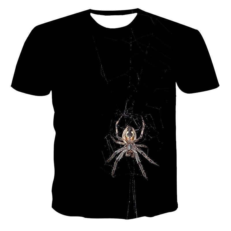 2020 夏新 3D tシャツカジュアル半袖oネックトップファッション原宿クモパターンtシャツ