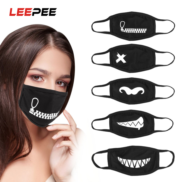 LEEPEE Anti Dust Anti Haze Facial Protective Cute Expression Mouth Muffle Cotton Face Mask Motorcycle Protective Mask