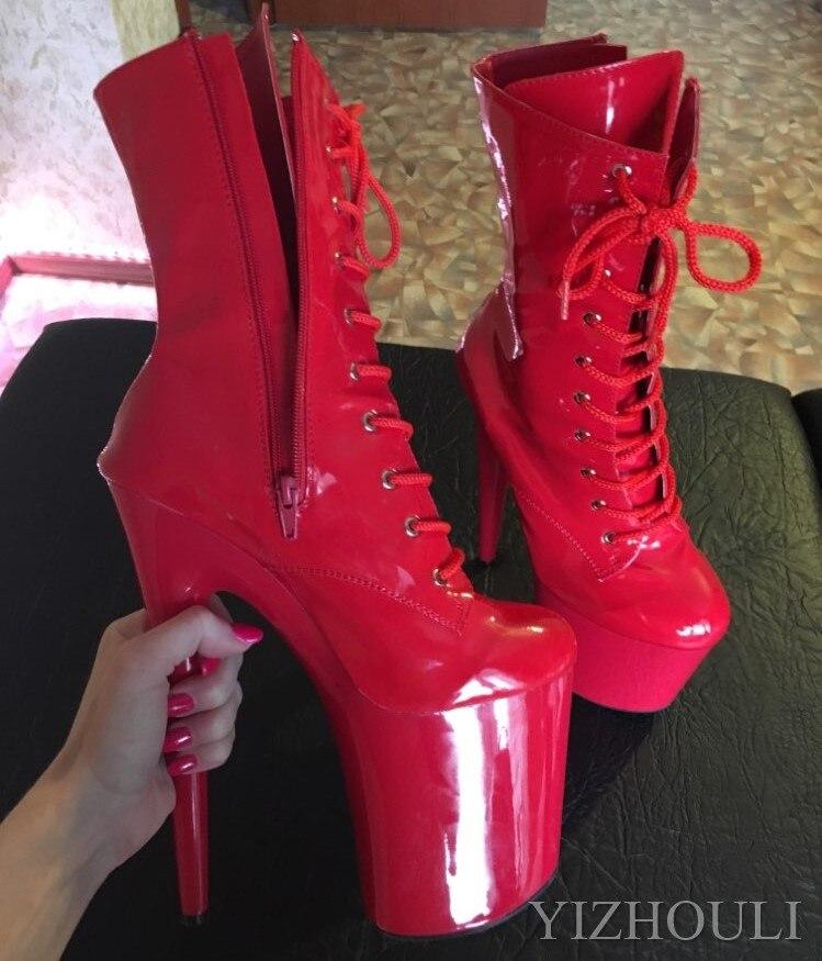 Mode sexy chevalier femme 8 pouces haut talon plate-forme bottines pour les femmes automne hiver chaussures 15-20cm noir pôle danse bottes - 6