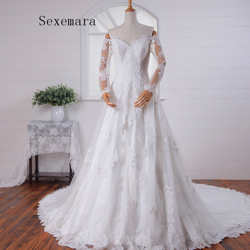 Romantic Fashion Long Sleeves Vestido De Novia Casamento Lace A-line Vintage 2018 Appliques Bride Mother Of The Bride Dresses