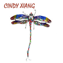 CINDY XIANG Colorful Enamel Dragonfly Brooches For Women Coat Pin 2 Colors Available Insect Jewelry Rhinestone Accessories