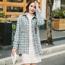 Модное женское свободное твидовое пальто в Корейском стиле осеннее женское клетчатое пальто B011