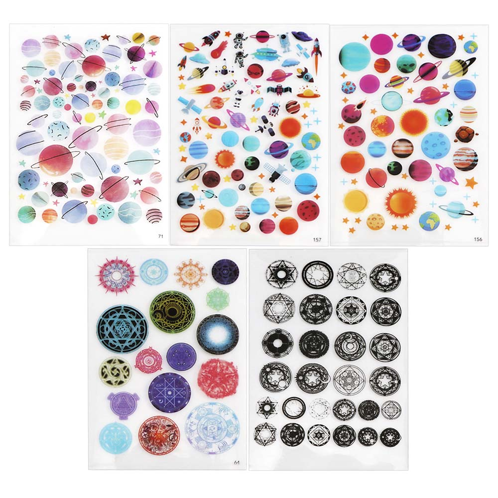 5pc Planet Universe Mix Epoxy Resin Molds UV Resin Stickers Filler Resina Silicone Molds Crystal Sticker Jewelry Making Tools