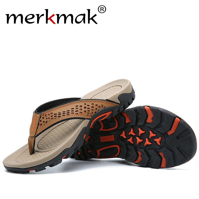 Merkmak 2020 New Summer Men Slippers Flip Flops Brand New Comfortable Big Size 48 Men Sandals PU Leather Home Slippers For Men