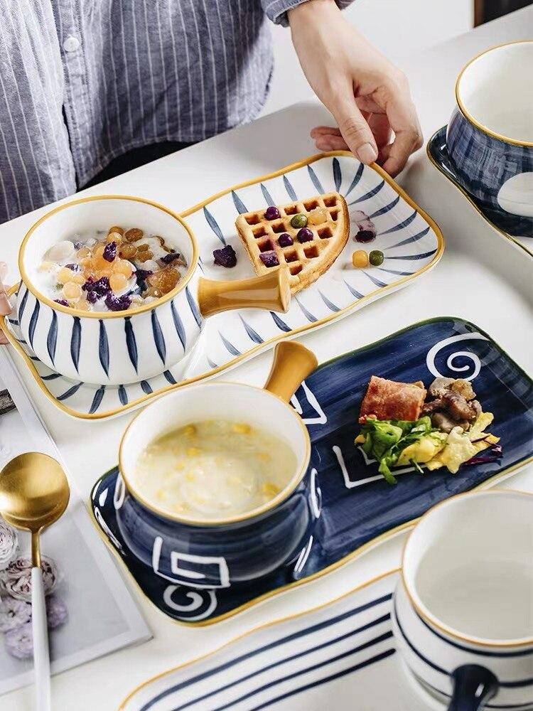 2020 nouveauté petit déjeuner ensemble en céramique Porriage bol avec poignée plat grande assiette en céramique Style japonais