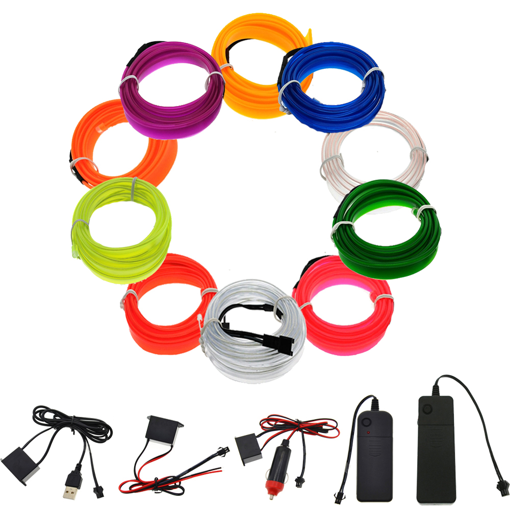 3V 5V 12V Neon Light EL Wire LED Strip 1M 2M 3M 5M Car Inverter 10 Colors LED Strip With Controller Neon Light Shoes Party Bike