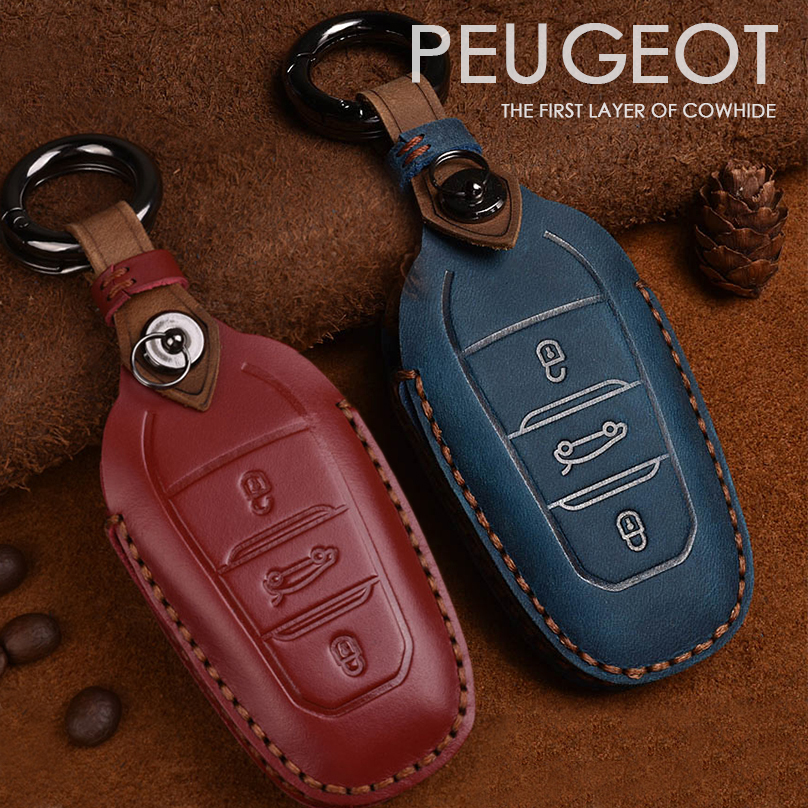 Retro Handmade Genuine Leather Smart Car <font><b>Key</b></font> <font><b>Cover</b></font> Case Bag For <font><b>Peugeot</b></font> 408 4008 <font><b>5008</b></font> 308s Remote Car <font><b>Key</b></font> Protector image