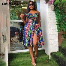 CM.YAYA Knie Länge Kleid Spaghetti Strap V-ausschnitt Fit und Flare Splited Kleider Sexy Elegante Weibliche Druck Kleidung Sommer Outfit