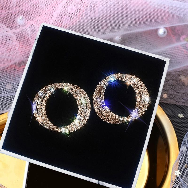 925 Sterling Silver Needle Stud Earrings for Women Jewelry Round Rose Gold Rhinestone Female Earrings