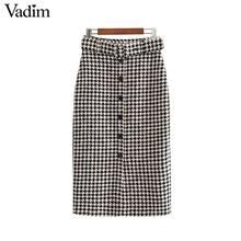 Vadim נשים אלגנטי טוויד משובץ משבצות midi חצאית עניבת פרפר חגורת כפתור לקשט משרד ללבוש שיק אמצע עגל חצאיות BA844