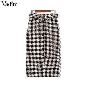 Image 1 - Vadim women elegant tweed houndstooth plaid midi skirt bow tie belt button decorate office wear chic mid calf skirts BA844