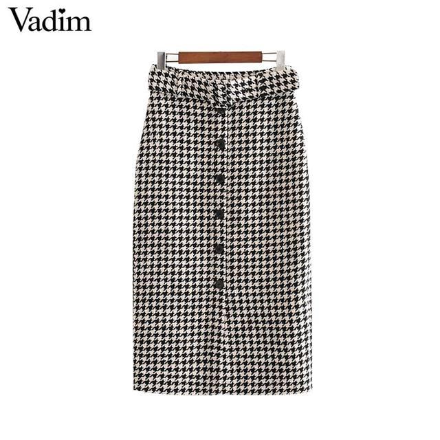 Vadim women elegant tweed houndstooth plaid midi skirt bow tie belt button decorate office wear chic mid calf skirts BA844