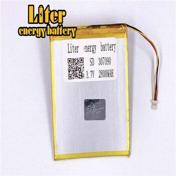 Plug 1,0-3 P 307090 de 2800mah 3,7 V recargable del lipo batería solar de la batería del li-ion de litio de polímero de Tablet PC de la batería