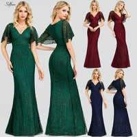 Sexy paillettes Maix Robe pour les femmes à manches courtes col en v moulante soirée Robe de soirée élégant longue dames Robe Robe Femme 2020