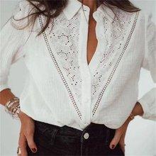 ZXQJ-Blusa de encaje con manga larga para verano, camisa blanca con bordado hueco para mujer, estilo Vintage, con botones, 2021