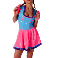Rubber Latex Maid Dresses Handmade Pink and Sky Blue Latex Party Mini Skirt Dress Plus Size Custom Made S LD297