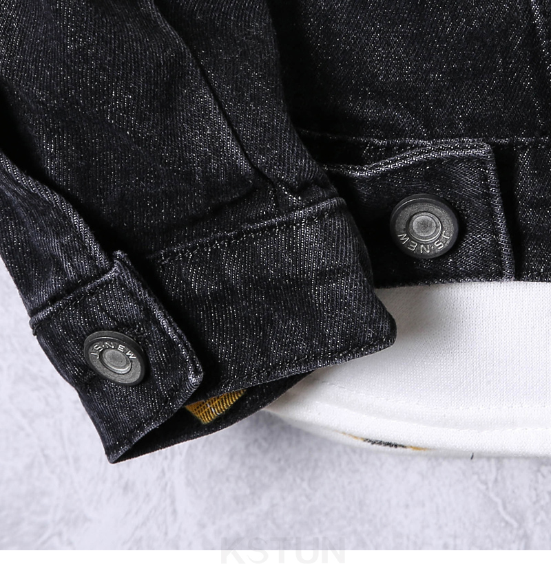 KSTUN 2019 Denim Jacket Men Spring Autumn Dark Gray Jean Jacket Fashion Hole Hip Hop Cowboy Jacket Streetwear Mens Casacas Para Hombre 17
