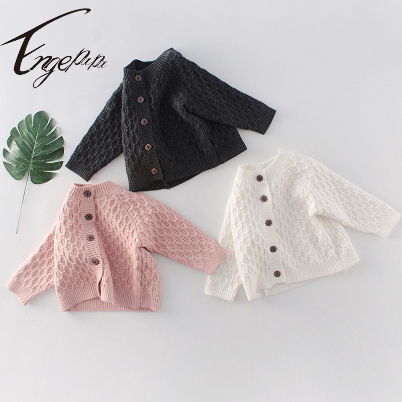 Engepapa Toddler Baby Boys Girls Solid Color Long Sleeve Cardigan Spring Winter Newborn Baby Boys Girl Sweater