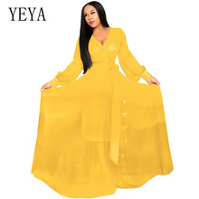 YEYA New Fashion Women Autumn Sexy V Neck Vintage Boho Long Maxi Chiffon Dress Elegant Femme Loose Casual Party Beach