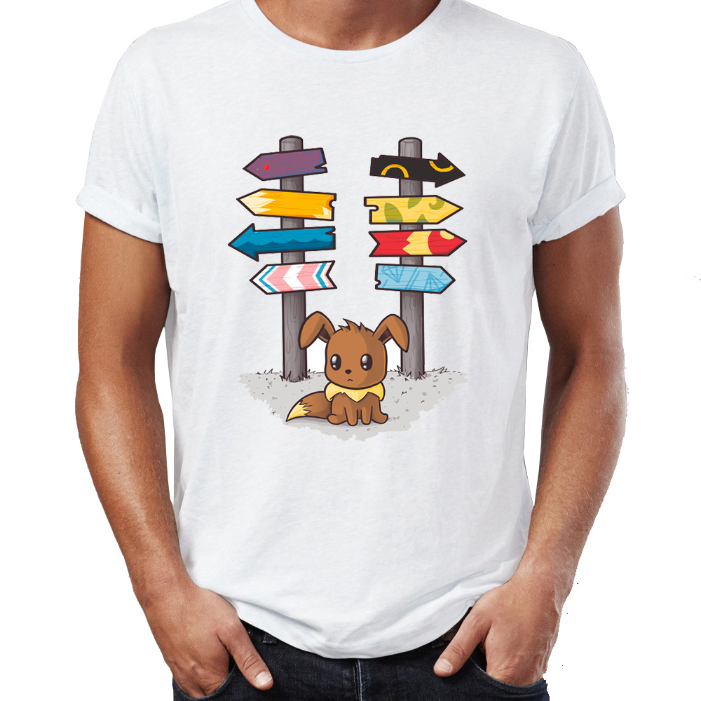 Summer Men's T-shirt Pokemon Eevee Which Way To Go Awesome Artwork Printed Tshirt Cool Tees Tops Harajuku Streetwear