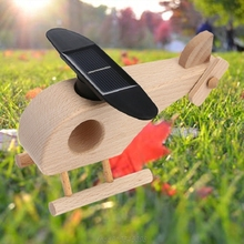 Creative Wooden Solar Powered Airplane Helicopter Model Kids Fun Science Early Educational Toy A29 21 Dropshipping