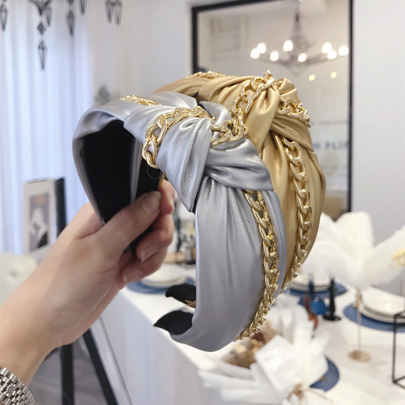 Synthetic Leather Metal Chain Headbands For Women Knot Headband Punk Hair Accessories Hair Band Flower PU Hairbands Head Wrap