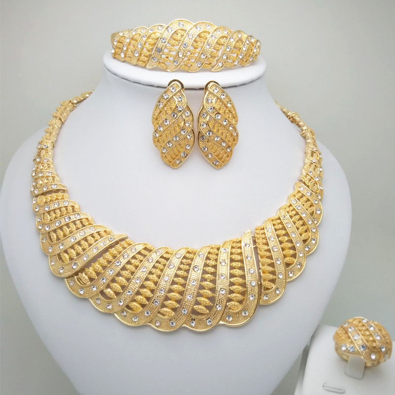 Kingdom Ma Gold Color Nigerian Wedding African Beads Jewelry Set Crystal Saudi Jewelry Sets Necklace Bracelet Earring Ring Sets
