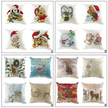 Pillow Case 2019 Creative Multi-pattern Christmas Linen Square Throw Flax Pillow Case Decorative Cushion Kid Gift Cover 4PCS(China)