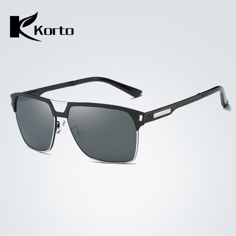 Korto Square Sunglasses Polarized Men 39 s Aviation Sun Glasses Poilt For Men UV400 Shade Spuare Black Summer Oculos Male Zonnebril in Men 39 s Sunglasses from Apparel Accessories