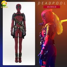 Female Deadpool Cosplay Costume Red Jumpsuit Full Set Halloween Carnival For Adult Women Custom Made