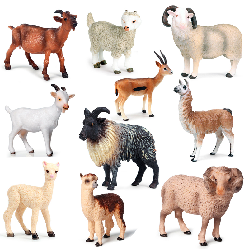 Simulación modelo de Animal salvaje cabra Rancho de ovejas aves de corral colección MODELO DE figura Animal de la cognición juguete educativo para los niños, regalo