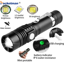 6200LM Super Brigh  LED Flashlight With T6/L2/V6  lanterna Power Tips outdoor  Bicycle Light Use 18650 zoomable Torch for hunt