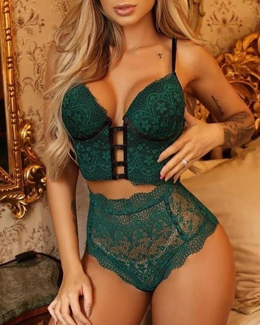 2PCS Women Sexy Lingerie Sleeveless Nightwear Outfits Solid Color Lace Top Bra Thong Halter Erotic Sex Sets