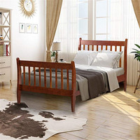 Wood Platform Bed with Headboard and Wooden Slat Support Wood Shelf Stable Classic Bed For Bedroom Apartment